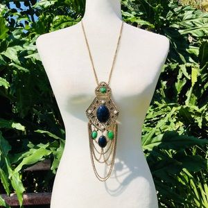Vintage gold necklace with blue and green stones
